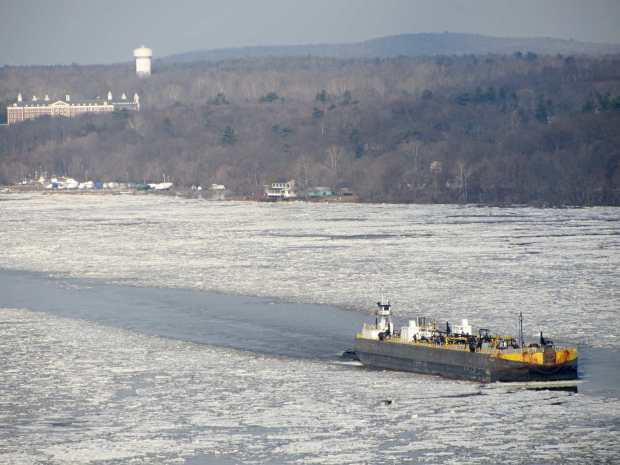 Hudson River - barge and ice