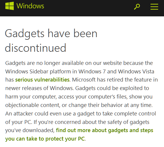 Windows Gadgets Have Been Discontinued - detail