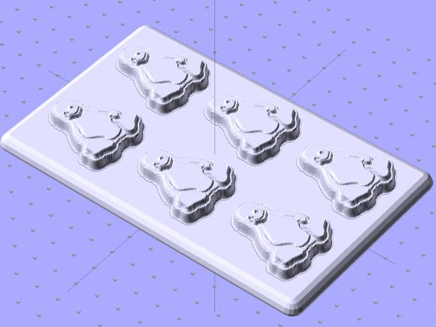 Tux Positive Mold Framework - 2x3 array