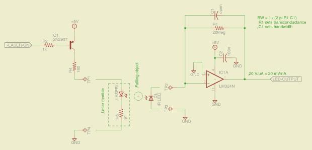 Laser-photodiode detector - schematic