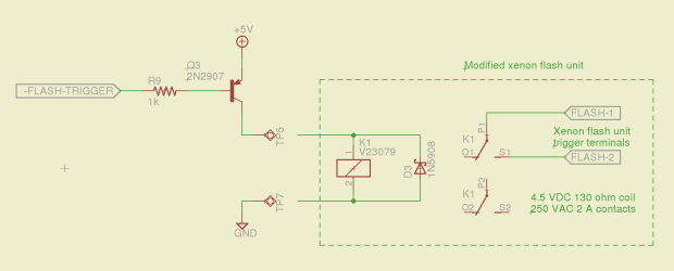 Xenon flash relay driver - schematic