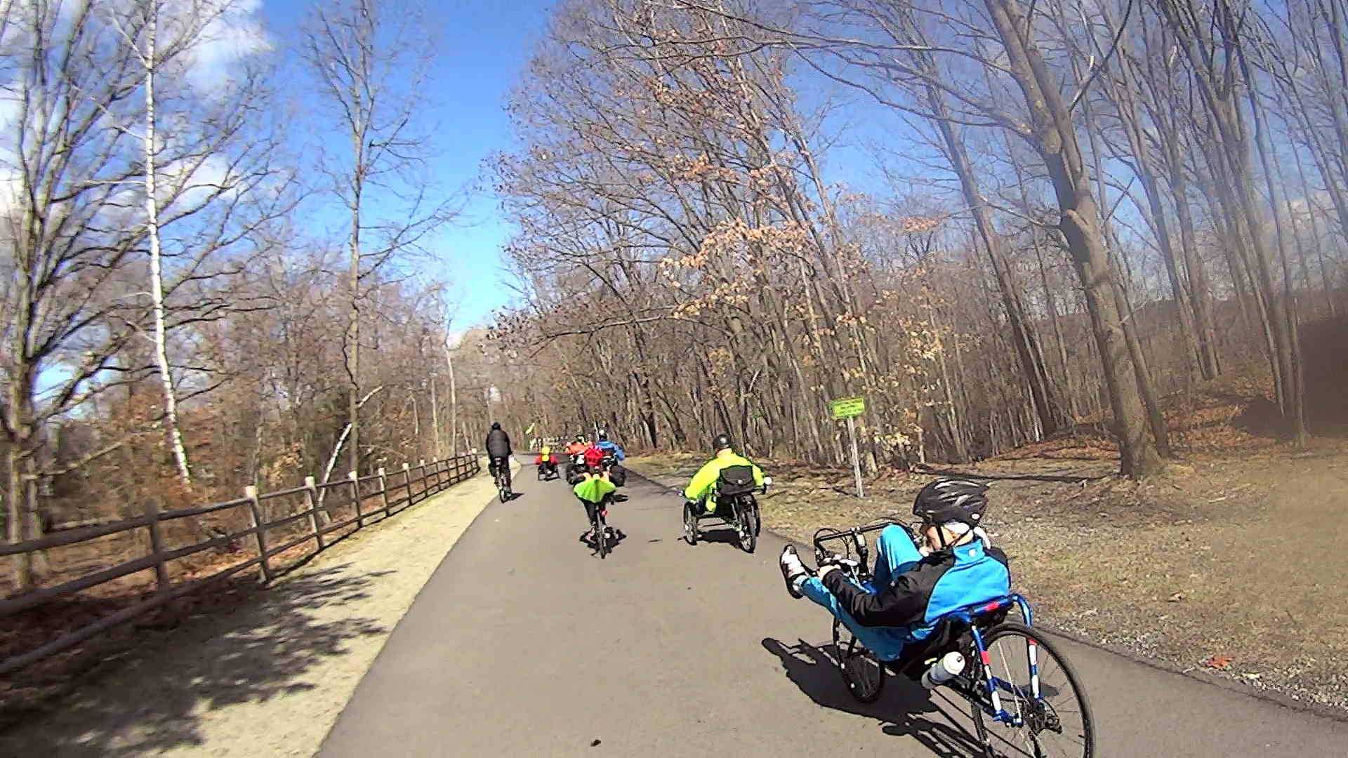 recumbent riders leaving hopewell junction depot 2014 04 05 - Muster Depot
