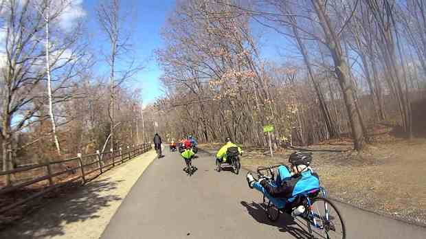 Recumbent Riders - Leaving Hopewell Junction Depot - 2014-04-05