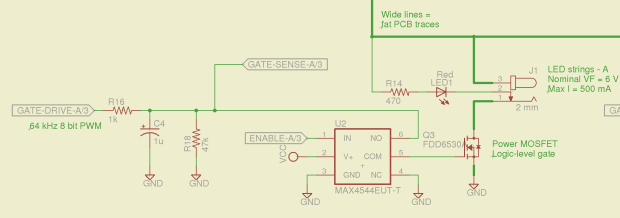 Switched MOSFET gate - analog switch schematic