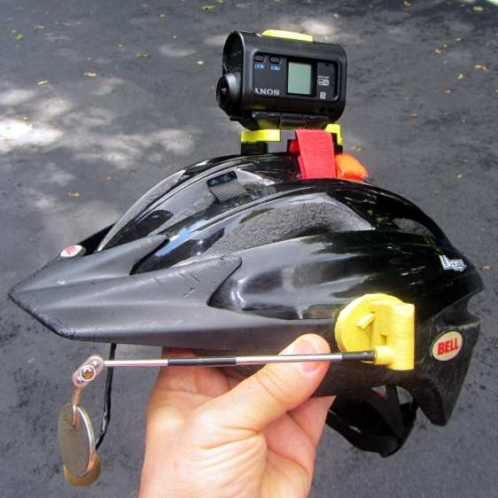 Sony HDR-AS30V camera on bike helmet - inverted