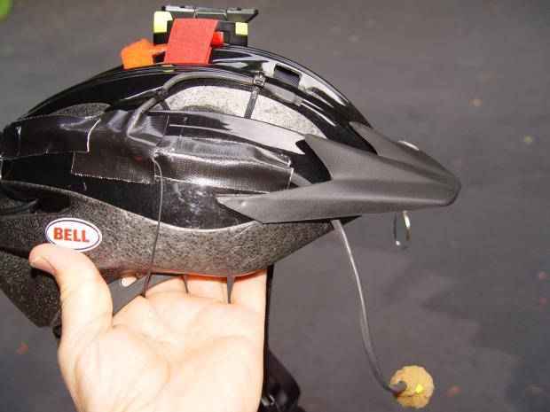 Bike Helmet Mic Boom - installed