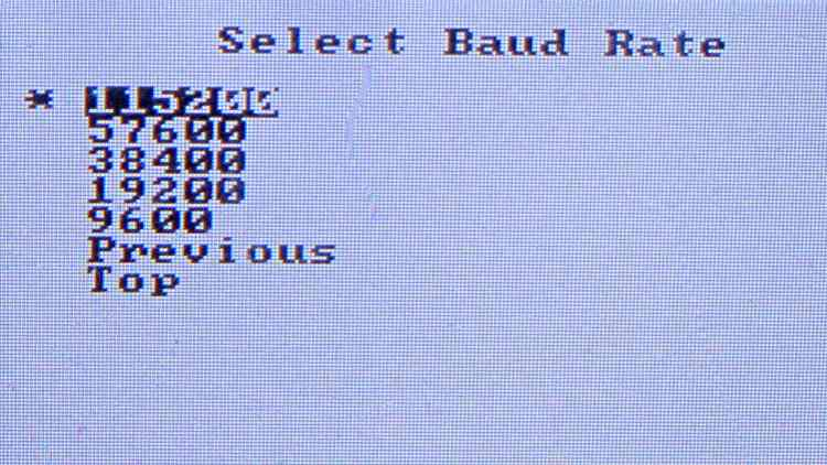 Price Scanner - Baud Rate Selection - detail