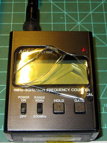 FC1002 Frequency Counter - split shattered faceplate