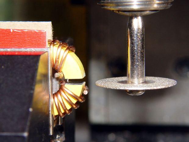 Powdered iron toroid - slitting