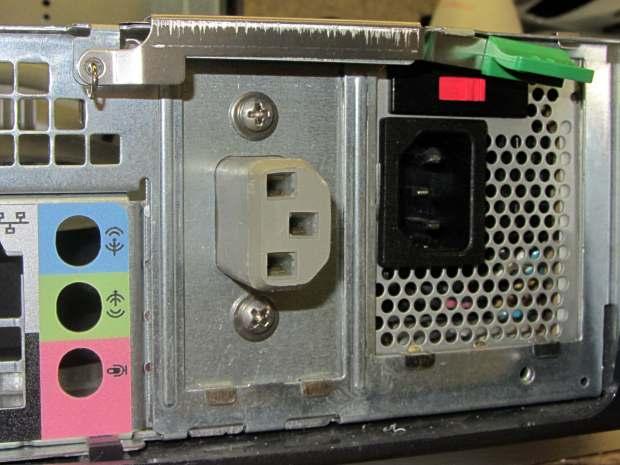 Dell drive bracket - IEC socket - exterior
