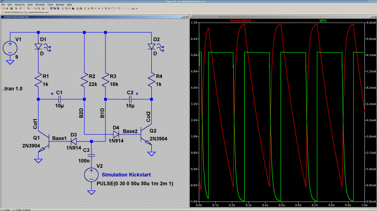 Astable Multivibrator - as-built - simulation