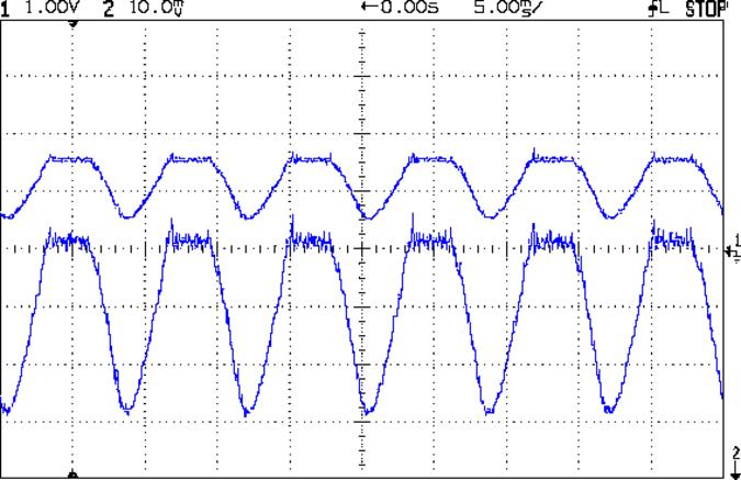 Current Sense Amp vs Tek - 200 mA-div