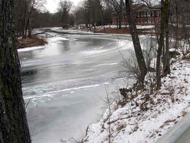 Red Oaks Mill Dam - upstream ice