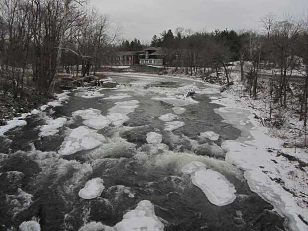 Red Oaks Mill Dam - downstream ice