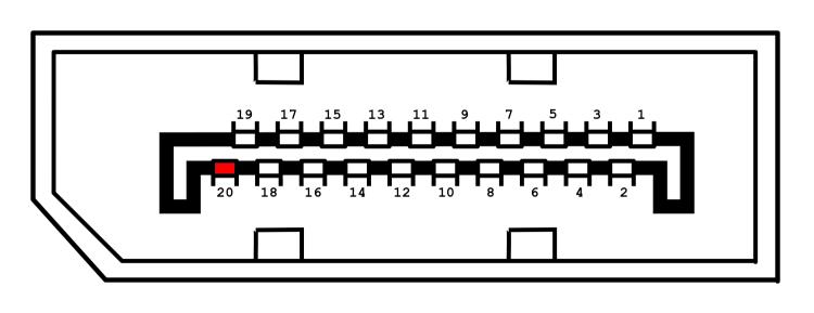 DisplayPort Connector - pin 20 highlight