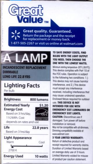 Walmart 60 W LED Bulb - package data