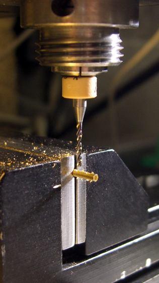 Silhouette temple repair - cross-drilling brass tube