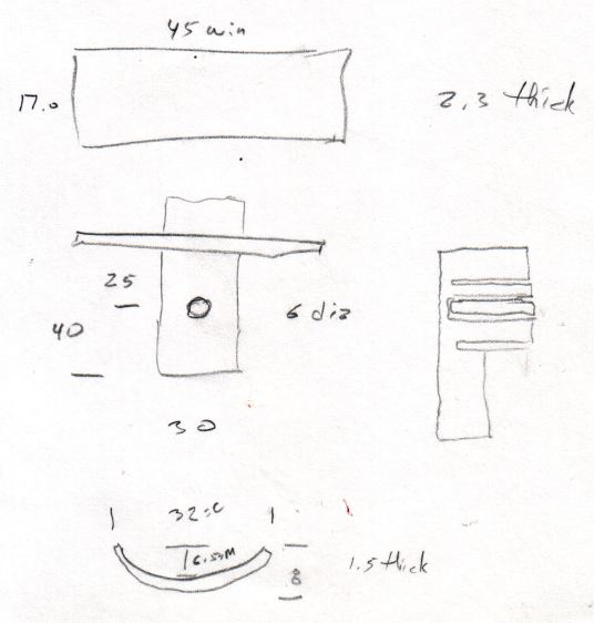 Tour Easy Rear Fender Bracket - measurement doodle