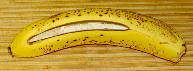 Banana with split skin