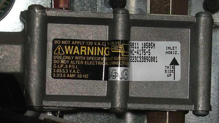 Kenmore range oven gas valve - data plate
