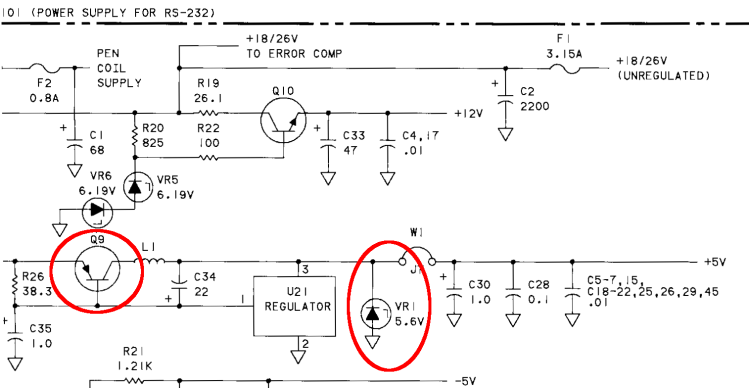 HP 7475A - LED power tap - schematic
