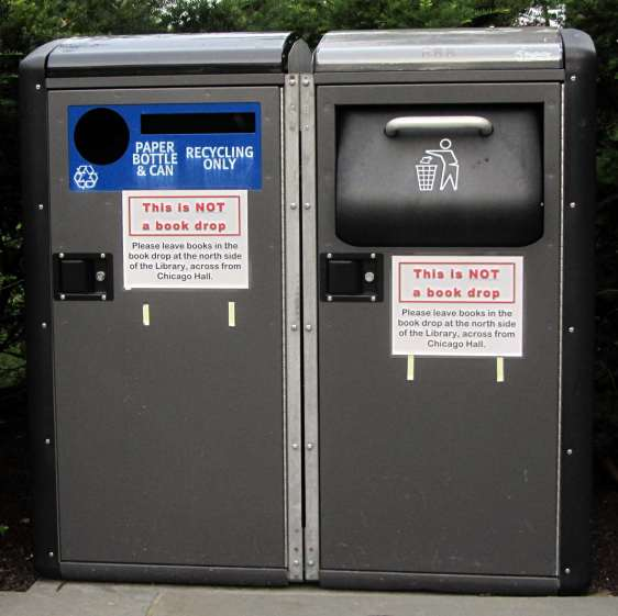 Vassar Library - Trash and recycling containers