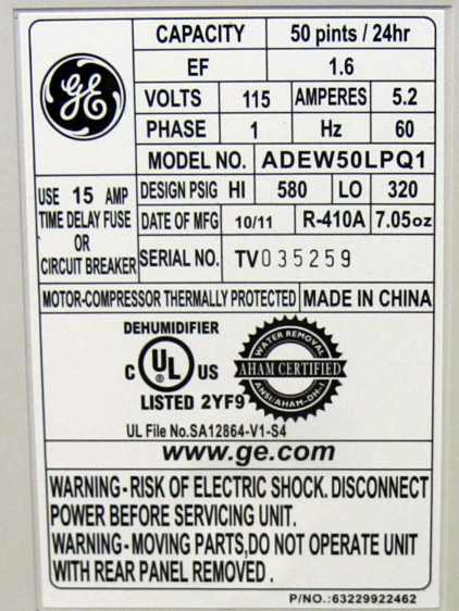 GE Dehumidifier label