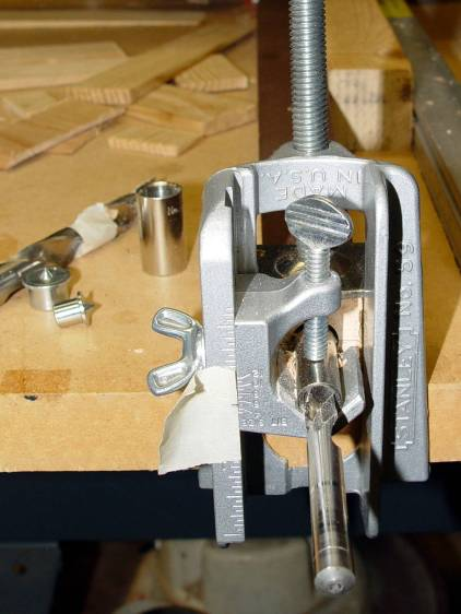 Sears Sewing Table - leg drilling setup - detail
