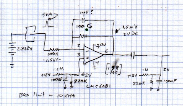 Electrometer amp - LMC6081 schematic