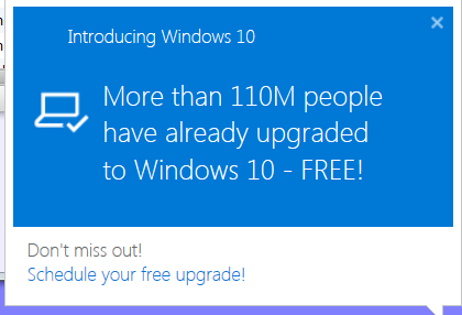 Win 10 Upgrade Popup