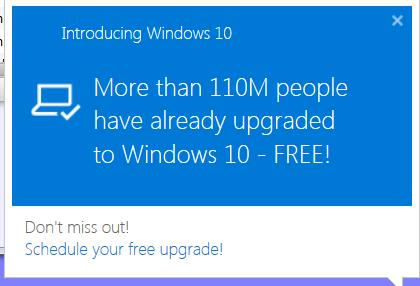 Win 10 Upgrade Popup