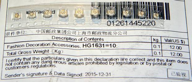 U.FL Connectors - Customs declaration