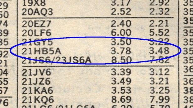 Radio Shack 1975 Catalog - 21HB5A Tube Listing