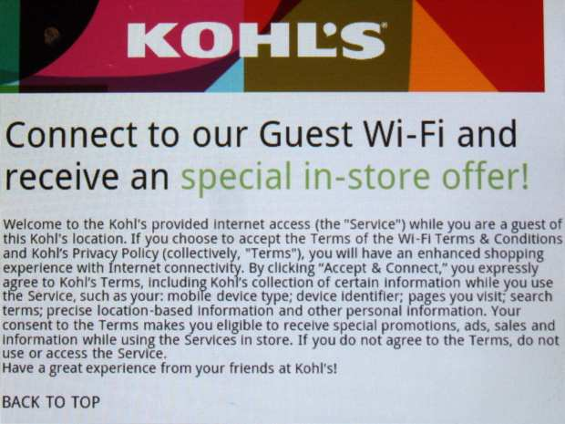 Kohls Guest WiFi - login screen