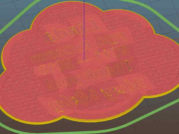 Lip Balm Holder - text bridge layer - Slic3r preview