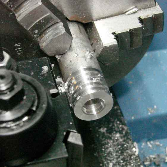 LMS Mini-lathe - first cut - drilled and slotted
