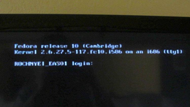 Fedora console on motel TV