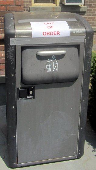 Vassar Old Main - Broken Trash Can 1