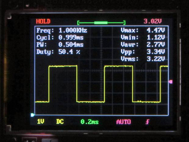 DSO138 oscilloscope screen - trace data