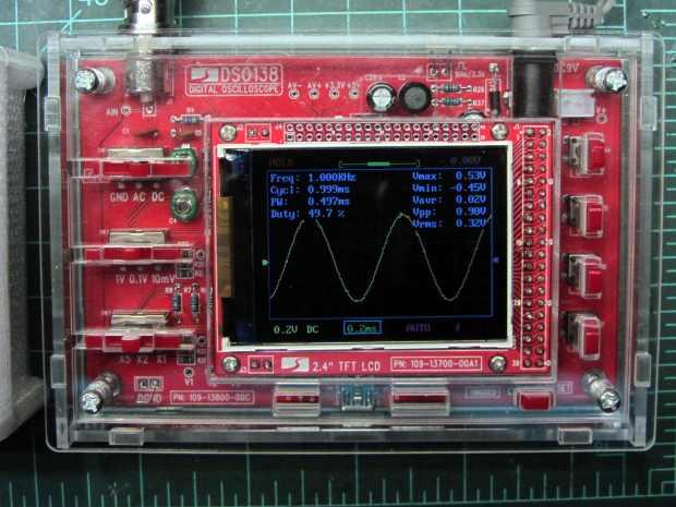 JYE Tech DSO138 oscilloscope - 1 kHz sine