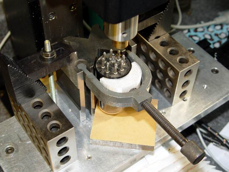 Octal tube clamped on Sherline mill