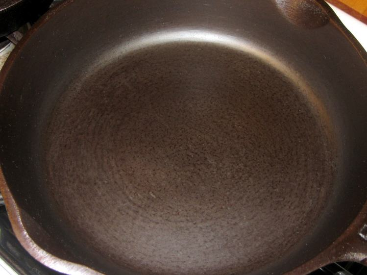 Medium cast iron pan - after - top
