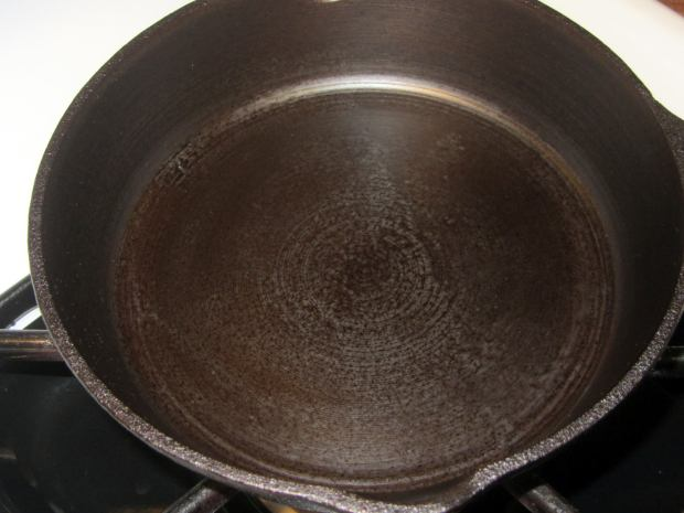 Small cast iron pan - after - top