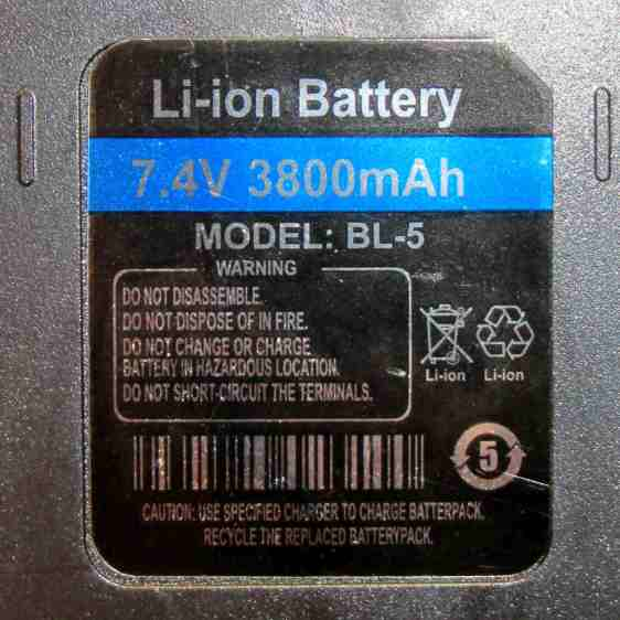 Baofeng Battery Eliminator - Li-ion Label