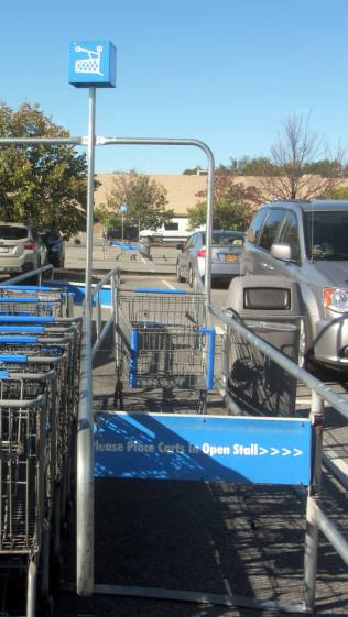 Walmart cart corral - backwards and upside down