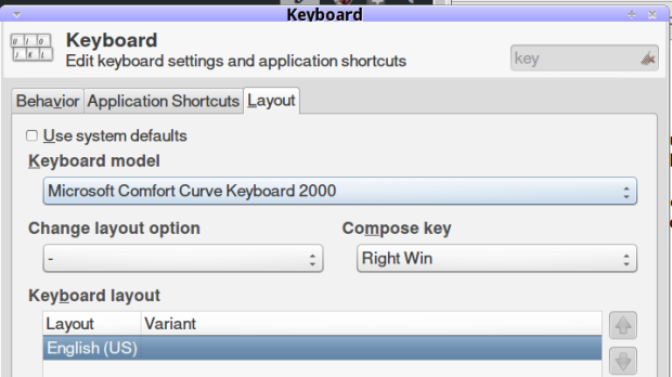 Compose key selection