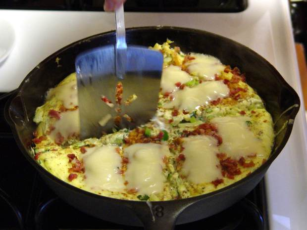 Omelet in cast-iron pan