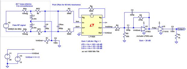 60 kHz Preamp - LTSpice schematic