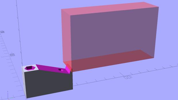 Kitchen Light Bracket - angled - tab cutoff - solid model