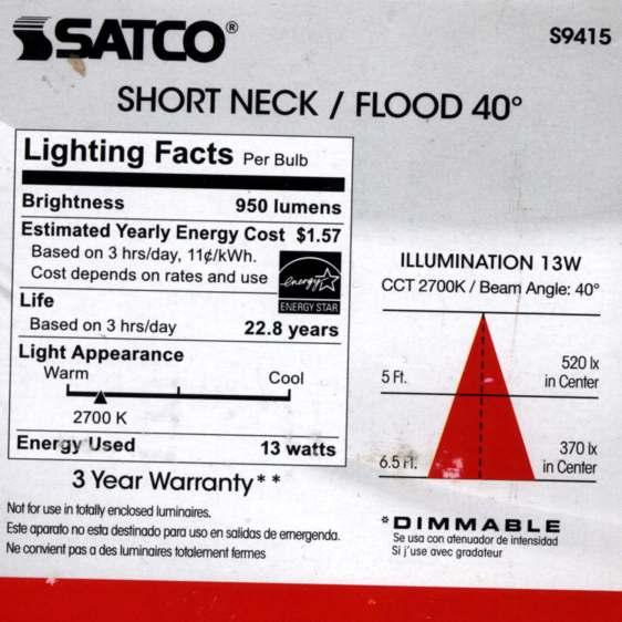 Satco S9415 PAR30 LED Bulb - specs